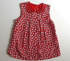 Girl's Sleeveless Tunic- Red & White Daisy Design /Embellished Collar- 8-9 Years