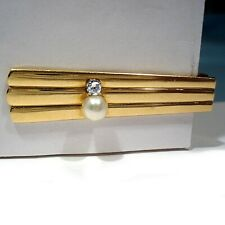 & Pearl Tie Bar Solid 14K Yellow Gold Diamond