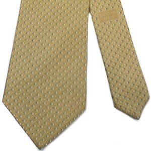 """LANVIN Recent Micro-grid Sphere Yellow Gold Printed Silk 3-1/2"""" x 60-3/4"""" France"""