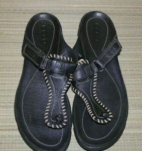 ECCO WOMENS BLACK SLIP ON LEATHER FLAT MULE SANDALS SIZE:6.5/40(WS62)