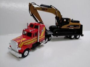 2 models a JOAL1/50 SLEEPER CAB Semi Trailer LOW LOADER TRUCK & HUINA EXCAVATOR