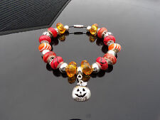 Pumpkin Halloween Orange European Charm Bracelet USA Ship Handmade
