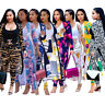 Women long sleeves coats + bodycon pants print casual club jumpsuit outfits 2pc