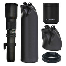 500mm f/8.0 Telephoto T-Mount Lens + 2x Multiplier & T-Mount Kit for Canon SLR