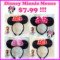 Disney Minnie Mouse Ears Bow Baby kids Girls Costume Red Pink HeadBand Head Band