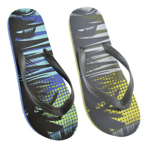 Mens Teenagers Palm tree flip flops slippers size 7 8 9 10 11 12 Blue Yellow