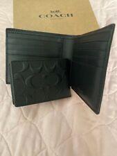 Coach Men Black Billfold Double Fold Bifold Leather Wallet 75084 F75084