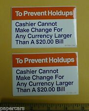 Gas Station Store Warning Robbery to prevent holdups a holdup New sticker decal