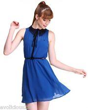 NWT Almost Famous Women Blue Crochet Collar Chiffon Shirt Dress Medium