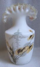 Victorian Hand Painted Frosted Satin Glass Silver Crest Rim Vase Factory Flaws!