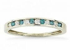 10K White Gold Blue & White Diamond Band Channel Set Anniversary Ring .24ct