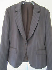 Ladies Fitted Blazer Size 8 Missy Stretch Career Dressy Brown Suit Coat Jacket