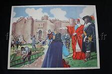 B890 Affiche école RICHELIEU Château fort Assassinat HENRI IV Rossignol scolaire