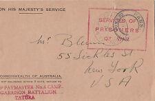 WW2 Australia Prisoner of War letter Tatura Victoria camp sent to USA censored