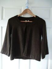 TU Ladies 100% Cashmere Brown cropped bolero shrug 3/4 sleeve Cardigan - 10