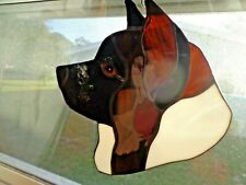 Stained Glass Dog - Akita - brindle/white