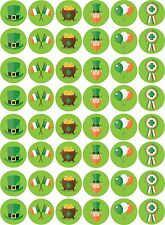 48 x St Patrick's Day Themed Pack - Pre Cut Cupcake Toppers Sugar Icing Sheet