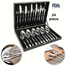 Modern Flatware SetSilverwareLarge CutleryKitchen Stainless Steel 24 Piece