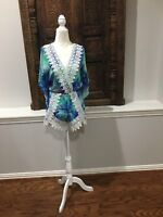 54751629be043 Tropical Island Blue Green Romper Lace Trim By Fashion House Size Small