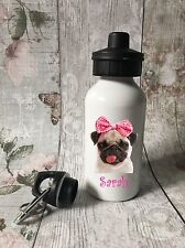 Personalised Cute Pug Pink Drinks, Water Bottle, Girl School, Sport, Dancing
