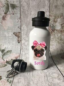Personalised Pug Bottle Water Bottle, Girl School, Sport, Dancing