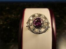 Vintage Rare Design18k Solid White Gold Diamond And Synthetic Pink Sapphire Ring