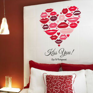 Family Kiss You Love Heart Quote Pink Wall Stickers Bedroom Removable Decals DIY