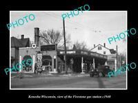 OLD LARGE HISTORIC PHOTO OF KENOSHA WISCONSIN, THE FIRESTONE GAS STATION c1940
