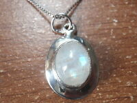 Moonstone Oval on Silver Border 925 Sterling Silver Pendant