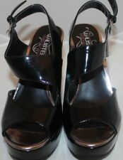 WOMEN'S UNLISTED KENNETH COLE FAUX PATENT LEATHER HIGH HEEL WEDGES BLACK SZ 8 M