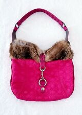 COACH RARE Hot Pink Color, Ski Quilted Hobo Bag w/ Leather & Rabbit Fur Trim