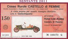 CASSA RURALE CASTELLO DI FIEMME LIRE 150 29.05. 1978 ALFA 1910 - 1915 FDS C54