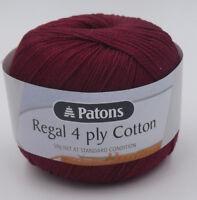 Patons Regal 4 ply Cotton (%100) x 2 ~ 50g  Knit & Crochet # 1001 Carmine