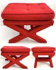 Vtg X Base Bench Billy Baldwin Red Upholstered Foot Stool Ottoman MCM
