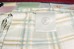 4 Pc S BACKWARD S KING Sheet Set BLUE, GRAY, GOLD & WHITE PLAID IN COLOR USED