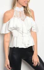 White Tuxedo Style Romantic Halter Victorian Cold Shoulder Mock Lace Ruffle Top