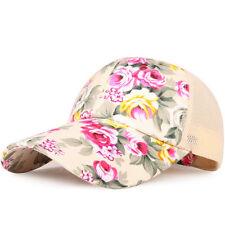 Womens Ladies Floral Baseball Cap Snap Back Sun Hat Outdoor Sports Adjustable