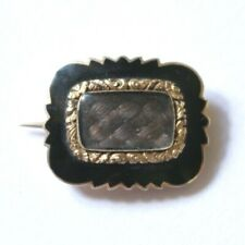 Antique Victorian 15ct Yellow Gold & Black Enamel Hair Mourning Brooch