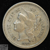 1867 Three Cent Nickel, Extremely Fine Condition, Free Shipping in USA, C4928