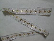 Gorgeous 5YDS OR 4 1/2 YDS White & Gold Cotton Ribbon  Trim Sewing DIY