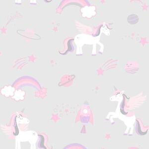 Holden Decor Kids Unicorns Rockets and Rainbows Wallpaper - Grey 90960