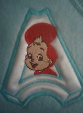 Vintage 1990 BABY ALVIN Embroidered Patch on Blue Grow Bag Chipmunks Chipettes
