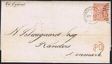 1867 SG93 4d Vermilion Pl 8 KJ Fine Used Newcastle to Denmark Cat. £150.00
