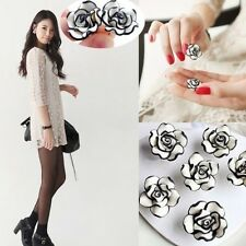Women Lady Girls Elegant Fashion Cute Earrings Rose Flower Stud Black & White JF