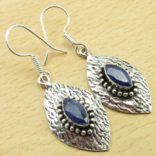 """925 Silver Plated Classic Jewelry Traditional Simulated Sapphire Earrings 1.9"""""""