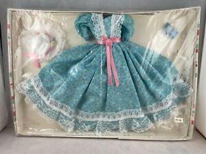 Vintage Handmade Blue Floral Dress w/ Hat, Shoes, & Necklace for Barbie Doll