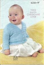 Original Vintage Knitting Pattern 2 Baby Cardigans P&B SCIO