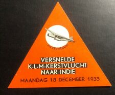Mint Air Baggage Label Tag KLM Netherland 1933