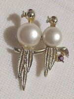 Brooch Pin VTG 1950-60's MCM Jelly Belly Birds Faux Pearls Red Stones Gold Tone