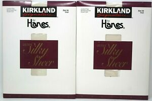 Kirkland HANES E65 Ultra Silky Sheer ControlTop Pantyhose Sz AB Pearl 2Pk Lot D9